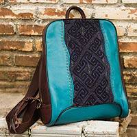 Leather and cotton backpack, 'Hill Tribe Cheerful Turquoise' - Hill Tribe Leather Backpack with Embroidered Cotton Applique