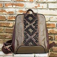 Leather and cotton backpack, 'Hill Tribe Cheerful Olive' - Embroidered Applique on Olive Leather Backpack Bag