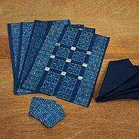 Cotton batik table linen set, 'Indigo Tribal Stars' (set for 4) - Hand Dyed Blue Cotton Batik Star Motif Table Linen Set for 4