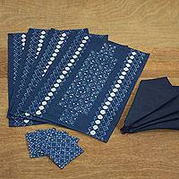 Cotton batik table linen set, 'Blue Hmong Lace' (set for 4) - Hmong Hill Tribe Hand Stamped Batik Table Linen Set for 4