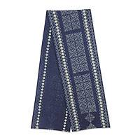 Cotton table runner, 'Blue Hmong Lace' - Hmong Hill Tribe Hand Stamped Batik Table Runner