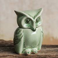 Celadon ceramic jar, 'Happy Green Owl' - Fair Trade Green Celadon Ceramic Owl Jar with Lid