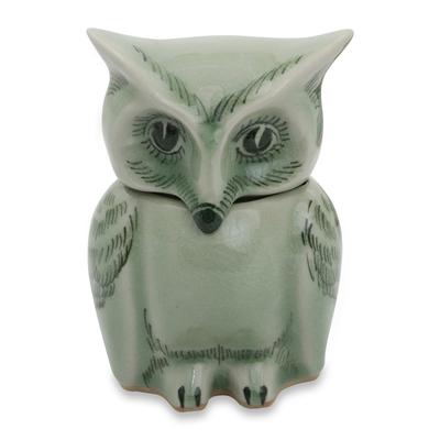 Fair Trade Green Celadon Ceramic Owl Jar with Lid
