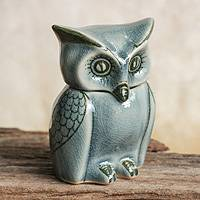 Celadon ceramic jar, 'Happy Blue Owl' - Artisan Crafted Small Blue Ceramic Owl Storage Jar