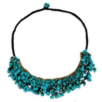 Handmade Turquoise Calcite and Brass Beaded Necklace