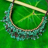Aventurine beaded necklace, 'Garden Party' - Beaded Cord Necklace with Green Aventurine and Brass