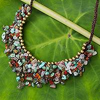 Beaded gemstone necklace, 'Festive Party' - Multicolor Gemstone Chip Necklace with Brass Accents