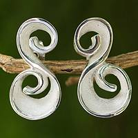 Sterling silver button earrings, 'Silver Flourish' - Original Artisan Designed Sterling Silver Button Earrings