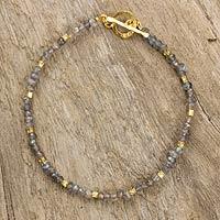 Labradorite and gold plated bead bracelet, 'Simply Delightful' - Fair Trade Labradorite and 24k Gold Plate Bracelet