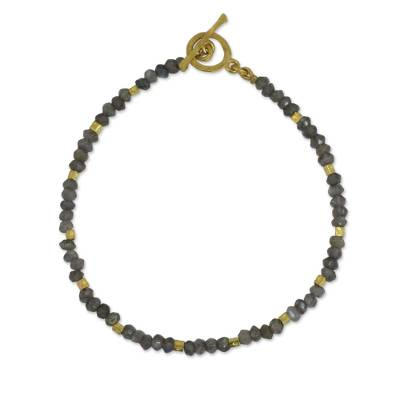 Fair Trade Labradorite and 24k Gold Plate Bracelet