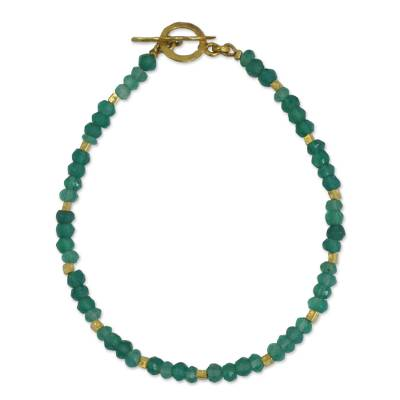 Handcrafted Bead Bracelet with Chalcedony and 24k Gold