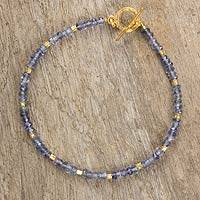 Iolite and gold plated bead bracelet, 'Simply Enraptured' - Blue Iolite Bracelet with 24k Gold Plated Silver Beads