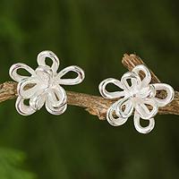 Sterling silver button earrings,