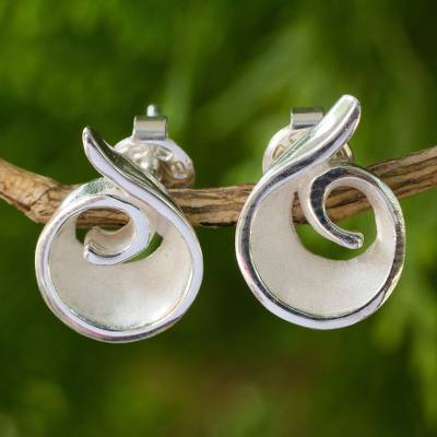 Sterling silver button earrings, 'Frosted Swirl' - Original Artisan Designed Sterling Silver Button Earrings