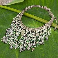 Multi-gemstone choker necklace, 'Supernova' - Labradorite and Prehnite Crocheted Choker Necklace