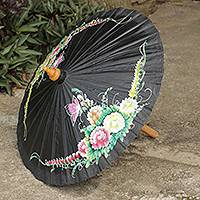 Cotton and bamboo parasol, 'Butterfly Paradise in Black' - Black Hand Painted Cotton Thai Parasol with Bamboo Frame
