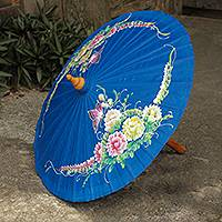 Cotton and bamboo parasol, 'Butterfly Paradise in Blue' - Blue Thai Parasol in Hand Painted Cotton with Bamboo Frame