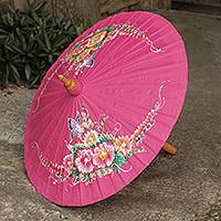 Cotton and bamboo parasol, 'Butterfly Paradise in Pink' - Pink Hand Painted Cotton Thai Parasol with Bamboo Frame