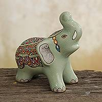 Celadon ceramic figurine, 'Royal Elephant Greeting' - Thai Green Celadon Ceramic Elephant Sculpture