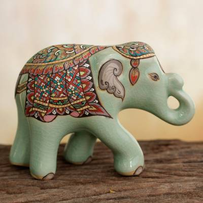 Celadon ceramic figurine, 'Smiling Royal Elephant' (small) - Thai Celadon Hand Painted Ceramic Elephant Figurine (Small)