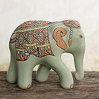 Celadon ceramic figurine, 'King's Royal Elephant' (small) - Hand Painted Thai Celadon Ceramic Elephant Statuette (Small)