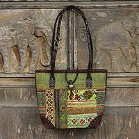 Leather accent cotton shoulder bag Green Tribal Patchwork Thailand