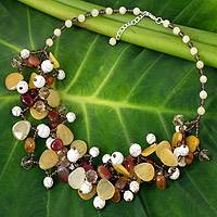 Carnelian and quartz beaded necklace, 'Autumn Symphony' - Beaded Gemstone Necklace with Carnelian and Quartz