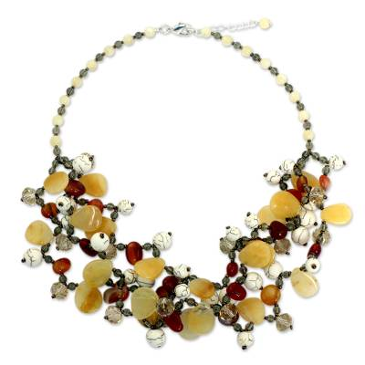 Beaded Gemstone Necklace with Carnelian and Quartz
