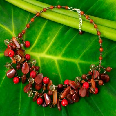 Jasper and carnelian beaded necklace, 'Summer Symphony' - Jasper, Carnelian, and Smoky Quartz Beaded Necklace