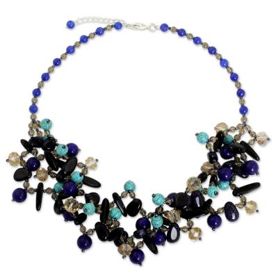 Quartz and onyx beaded necklace, 'Midsummer Night Symphony' - Artisan Crafted Bead Necklace with Onyx and Blue Quartz