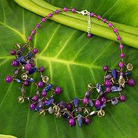 Lapis lazuli and amethyst beaded necklace,
