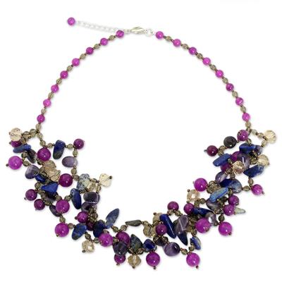 Unique Lapis Lazuli, Quartz and Amethyst Bead Necklace