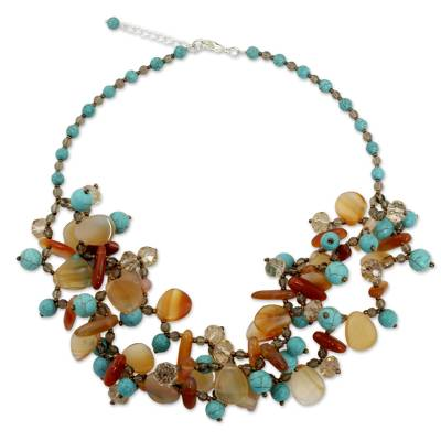 Fair Trade Artisan Necklace with Carnelian and Blue Calcite