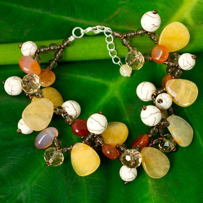 Carnelian and quartz beaded bracelet, 'Autumn Symphony' - Beaded Carnelian Gemstone Bracelet from Thailand