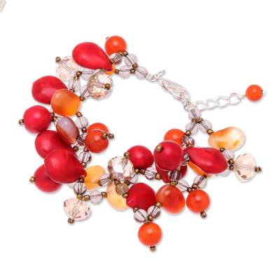 Handmade Jasper and Carnelian Bracelet from Thailand