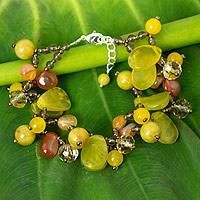 Serpentine and quartz beaded bracelet, 'Springtime Symphony' - Multi-Gemstone Bead Bracelet with Serpentine and Quartz
