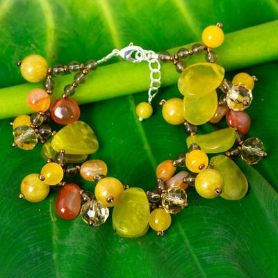 Serpentine and quartz beaded bracelet, Springtime Symphony
