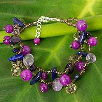 Lapis lazuli and amethyst beaded bracelet,