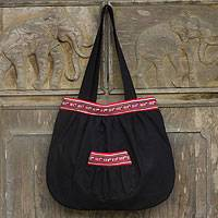 Cotton shoulder bag, 'Lisu Dance' - Lisu Hill Tribe Style Black Cotton Shoulder Bag