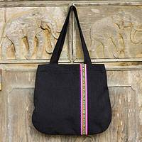 Cotton shoulder bag, 'Lisu Rhythm' - Embellished Black Cotton Shoulder Bag from Thailand