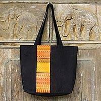 Cotton tote bag, 'Lanna Summer' - Unique Black Cotton Tote Bag with Thai Style Embroidery