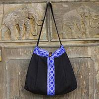 Cotton shoulder bag, 'Thai Tradition' - Black and Royal Blue Handcrafted Cotton Shoulder Bag