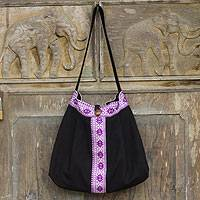 Cotton shoulder bag, 'Thai Life' - Purple-Trimmed Black Cotton Handbag from Thailand