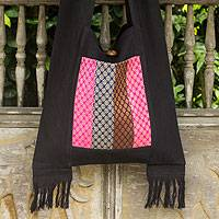 Cotton shoulder bag, 'Thai Beauty' - Handwoven Thai Style Black Cotton Shoulder Bag