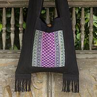 Cotton shoulder bag, 'Thai Twilight' - Thai-Style Handbag in Black Cotton with Embroidered Panel