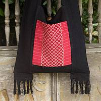 Cotton shoulder bag, 'Thai Crimson' - Handwoven Red and Black Shoulder Bag with Fringe