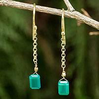 Gold vermeil onyx dangle earrings, 'Living Soul' - Thai Artisan Crafted 24k Gold Vermeil Green Onyx Earrings