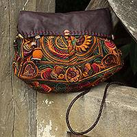 Leather accent embroidered shoulder bag, 'Mandarin Smile' - Leather Accent Embroidered Hill Tribe Shoulder Bag with Flap