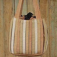 Cotton shoulder bag, 'Orient Tan' - Hand Woven Wool Shoulder Bag with 3 Pockets in Brown and Tan