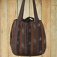 Cotton shoulder bag, 'Oriental Dark Brown' - Ikat Style Hand Woven Cotton Shoulder Bag with Pockets